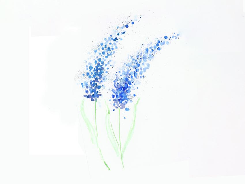 Aquarell mit Wattestäbchen