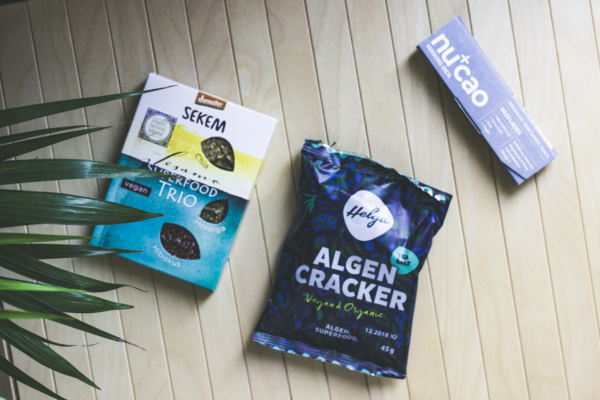 Hallo Helga Algencracker, Sekem Bio Snack, nucao Schokolade